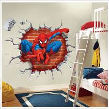 interior design amazing superhero wall decals for kids bedroom spider man wall stickers