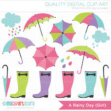 Clip Umbrella Clipart Rainy Day Weather Blue Umbrellas