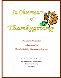 exmore town office closed november 24th 25th 2016 in observance