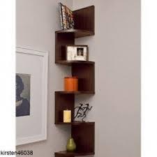 Espresso Corner Bookshelf Zig Zag Corner Wall Shelf Foter