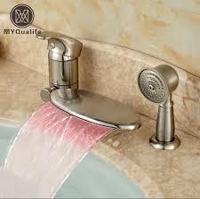 monora brushed nickel waterfall tub faucet three handles brushed nickel waterfall bathroom faucet best waterfall 2017