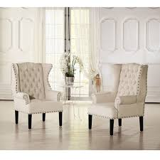 Nailhead Accent Chair Baxton Studio Patterson Beige Linen And Burlap Upholstered Accent