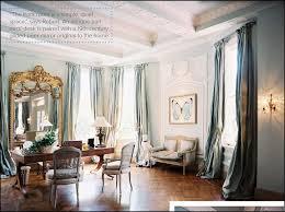parisian living room decor blue gray decor long curtain panels