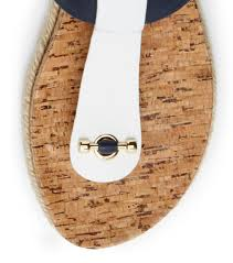 tory burch cork footbed flat thong sandal in blue lyst