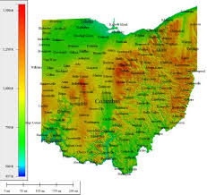 Map Of Ohio State by Topocreator Create And Print Your Own Color Shaded Relief