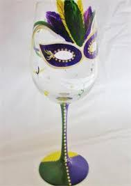 mardi gras glasses tuesday mardi gras painted wine or pilsner glass