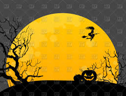 halloween trees pumpkins background halloween background with witch pumpkin and moon vector image