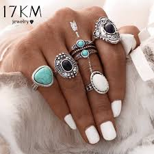 midi ring set 17km 5 pcs set antique silver color bohemian midi ring set vintage