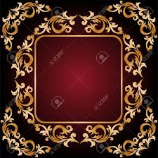 vintage frame from the golden ornament on background