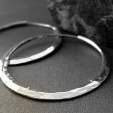 hammered hoops hammered hoop earrings sterling silver 1 1 2 inch endless