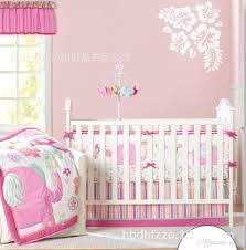 Crib Bedding Pattern Pink Elephant Pattern For Nine Pieces Baby Crib Bedding Sets