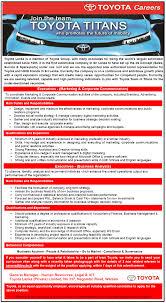 toyota company information executives marketing u0026 corporate communication job vacancy in