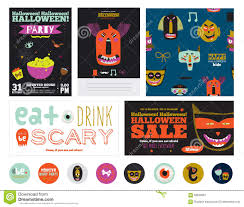 set trick or treat poster cards and stickers stock vector image