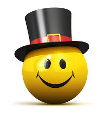 happy yellow smiley emoticon in black hat stock illustration