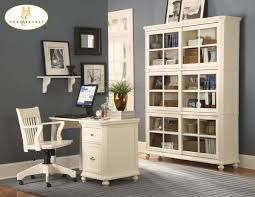 blue grey paint color for office with white furniture decorate