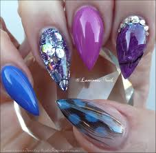 luminous nails purple pearl u0026 blue acrylic nails with feather