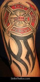 firefighter maltese cross tribal arm shared by