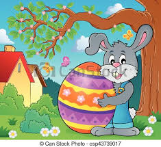 big easter bunny bunny holding big easter egg vector clip search illustration