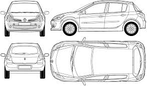 2005 renault clio iii hatchback blueprints free outlines