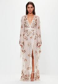 maxi dress with sleeves bridal sleeve plunge embellished maxi dress missguided