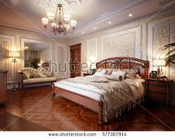 spacious bright bedroom large window wooden stock illustration