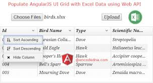 angularjs tutorial with web api populate angularjs ui grid with excel data using asp net web api in