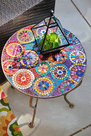 outdoor mosaic accent table one look at pier 1 s elba mosaic accent table and we instantly think