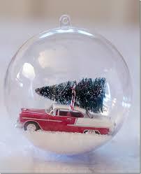 snow globe ornament car with bottle brush tree 6 thumb jpg