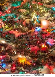 decorated christmas tree beautiful colored lights stock photo
