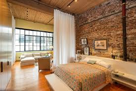 Industrial Curtain Wall Curtain Room Dividers Bedroom Industrial With Brick Wall Built In
