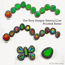 the very hungry caterpillar story stones and painted rocks