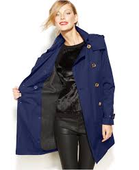 michael kors michael petite double breasted trench coat in blue lyst