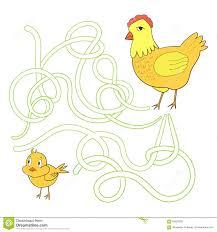 labyrinth maze find a way chicken hen stock vector image 60922335