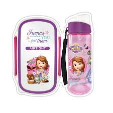 disney princess sofia lunch box bottle pink purple