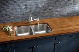 Industrial Kitchen Faucets Countertops Wood Countertop And Double Bowl Stainless Steel With