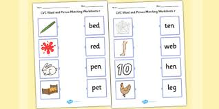 cvc word and picture matching mixed worksheets cvc words with
