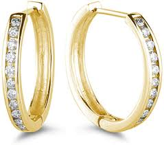 gold diamond hoop earrings 1 2 carat channel set diamond hoop earrings 14k yellow gold