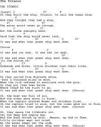 summer camp song the titanic with lyrics and chords for ukulele