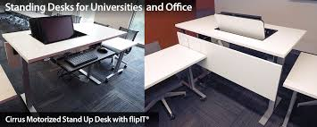 motorized standing office desk with multi use flipit lcd display support