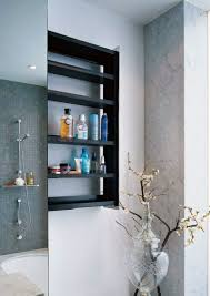 creative bathroom storage ideas cool grey wood grain tiles wall