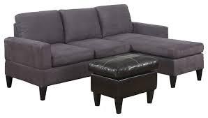 Microfiber Contemporary Sofa 3 Piece Sectional Sofa Gray Microfiber Contemporary Sectional