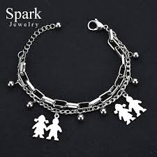 stainless charm bracelet images Buy spark stainless steel mama family charm jpg