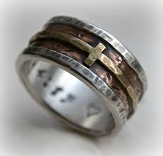 manly wedding bands mens wedding band rustic silver copper and brass cross