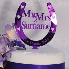 personalised wedding mr u0026 mrs horseshoe cake topper in purple