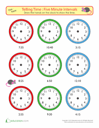 telling time to five minutes draw the time telling time draw