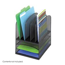 Stackable Desk Organizer Onyx Mesh Desk Organizer 3 Horizontal 5 Upright Safco Products