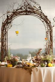 wedding arch grapevine with grapes vines color and drapping white flowers wedding