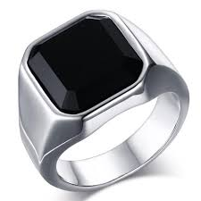 ring men stainless steel color black onyx ring men s ring with square black