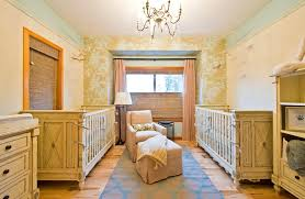 rustic crib nursery shabby chic style with yellow furniture