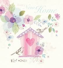 new home watercolour birdhouse greetings card